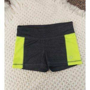 grey spandex style tight shorts w/neon stripes